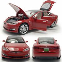 1/32 Scale Tesla Model S 100D Model Car Diecast Toy Pull Back Red Light Kids