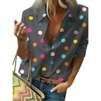 Fashion Women Sexy Lapel Long Sleeve Shirt Ladies Casual Dot Printed Blouse Tops