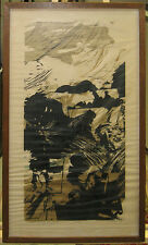 "Seong Moy Modernist Abstract Woodcut ""Nassau County II"" Listed Chinese-American"