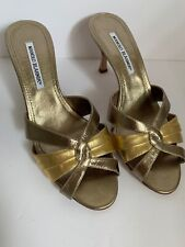 Manolo Blahnik Metallic Gold/Pewter Mules High (3in. and Up) Size 8.5 New