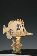 Butterfly Fish on Coral FREE STANDING 24K GOLD PLATED WITH AUSTRIAN CRYSTALS
