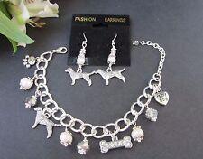 Lab / Golden Retriever Charm Bracelet & Earrings w/ Freshwater Pearls & Crystals