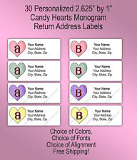 30 Customized Valentines Day Monogram Printed Return Address Labels Candy Hearts