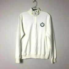 Henri Lloyd Mens Medium 1/4 Zip Pullover Sweater White Preppy Embroidered Logo