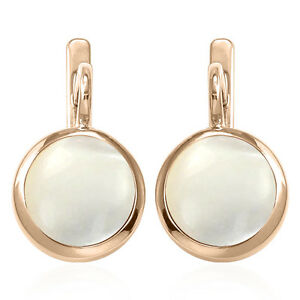 Russian Style Earrings 6.0 Gr. 14k Solid Rose Gold & 12mm Mother of Pearl #E1303