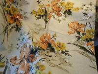 Vintage 1940s FLORAL BARKCLOTH FABRIC 46x30 ~ pumpkin yellow green white on ecru