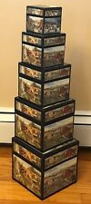 "Bob's Boxes - Folk Art Seasons - 5 Nested Box Set With Lids - 7"" 6"" 5"" 4"" 3"""