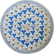 Marble Top Conference End Table Stone Inlaid Lapis Stone Semi Mosaic Decor H3896