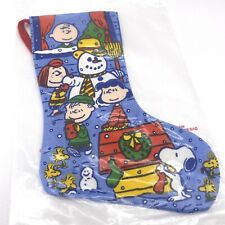 MINI Vintage Peanuts Snoopy Snowman Blue Christmas Stocking New in Package 1965