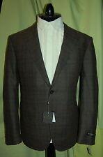 NWT CORNELIANI mens hunter brown plaid wool cashmere blazer jacket 52 42 R ITALY