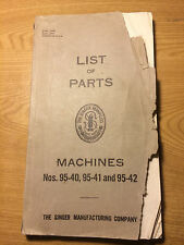 original 1935 LIST OF PARTS booklet for SINGER 95-40, 95-41, 95-4 sewing machine