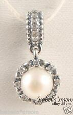 EVERLASTING GRACE Genuine PANDORA Silver/CZ Stones/WHITE PEARL Dangle Charm NEW