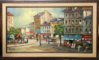 Mid Century MCM European Street Scene Oil Painting Signed by Peter Bunell
