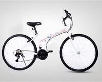 ZOYO Folding Bike 26'' White Folding Bicycle 21 Speed Foldable Bike Lady Cruiser