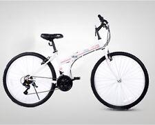 Folding Bikes 26'' White Folding Bicycle 21 Speed Women Men Bike Fold Commuter