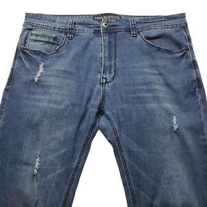 Free Planet Men's 33/30 Blue Skinny Straight Jeans Distressed Medium Wash