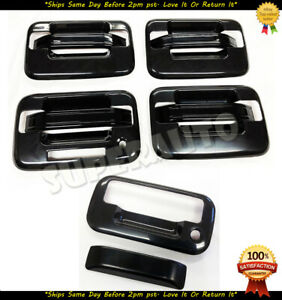 For 2004-2014 Ford F-150 Crew CAB Gloss Black Door Handle+Tailgate No PSG KH CAM