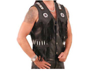Hommes Occidental Cow-boy Gilet Ancien Franges et Perles Cuir de Vachette XS-4XL
