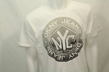 Men's NEW Dkny Jeans Crew Tshirt Graphic Classic Fit Small Nwot Color White