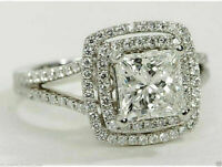 2 ct Princess Cut Diamond Halo Split Shank Engagement Ring 14k White Gold Over