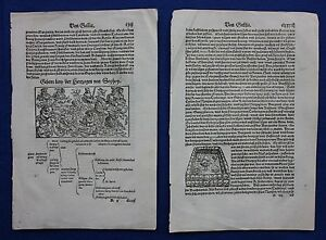 Original antique woodcut prints, HERZOG, COSMOGRAPHIA, Sebastian Munster, c.1578