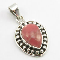 """925 Solid Silver RHODOCHROSITE Antique Look Necklace Pendant 1.2"""" Stone Jewelry"""