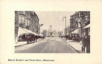 POSTCARD  SUSSEX    WORTHING   South  Street  and  Town  Hall