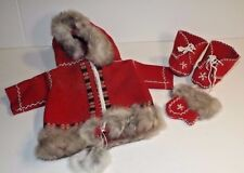 Vintage Handmade Doll Clothes Winter Coat 4 Pc Outfit Native Designs Rabbit Fur