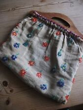 Vintage Homemade Cloth Embroidered Knitting/ Sewing / Craft Bag