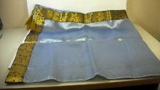 Accents Table Cover Table Cloth Light Blue Gold Trim Gold Tassels 40 in