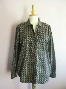 M&S Size 16 Caramel White + Black Horseshoe Pima Cotton Print Shirt NEW