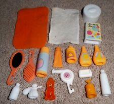 BARBIE DOLL CLOTHES ACCESSORIES - 18pc ORANGE COSMETIC HAIR MAKE-UP SET