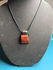 Silpada Cardinal Rule Red Sponge Coral Sterling Silver Leather Cord Necklace