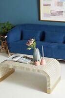 Indian Handmade Bone Inlay Gray Brass Waterfall Coffee Table