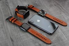 For Apple Watch 6 5 4 SE 42/44mm Genuine Orange Leather Strap Wrist iwatch Band