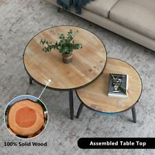 Round Nesting Set of 2 End Table Home Living Room Rustic Brown Coffee Side Table