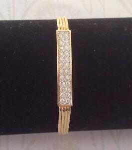 Gold Plated Crystal Set Bar Design Strand Bracelet