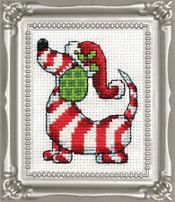 Cross Stitch Kit Design Works Winter Candy Cane Dog Picture w/Frame & Mat #DW520