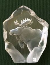 MATS JONASSON, Lead Crystal, Etched Moose, Scandinavian Art Glass Sculpture