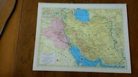 1954 Map of Iran & Iraq - Map of Turkey Syria Lebanon & Cyprus  Railroads In Red
