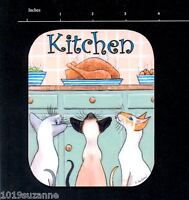 Siamese Cat painting art laminated original Kitchen door sign by Suzanne Le Good