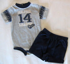 NWT: New Okie Dokie 0-3 Mo Gray Baseball Shirt, Blue Shorts Outfit, Nice Quality