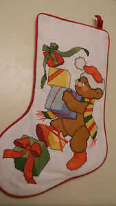 Handmade JCA Cross Stitch Christmas Stocking PRESENTS FROM TEDDY New Personalize