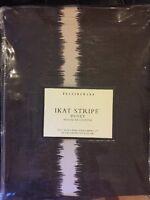 """Pottery Barn Ikat Stripe Duvet Cover Full/ Queen 92 X 88"""" New Brown White"""