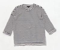 New Look Womens Size 8 Striped Cotton Blend Cream Top (Regular)