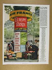 1963 Air France paris kiosk travel posters photo flights fares price list vtg Ad