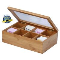 Tea Display Storage Box Compartments Vintage Antique Look Bamboo Wooden Holder