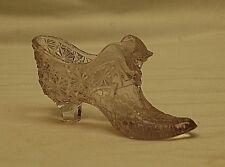 Old Vintage Fenton Art Glass Pink Victorian Slipper Shoe Cat Head Daisy Design