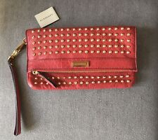 Burberry Adeline Red Leather Studded Wristlet Clutch Bag New