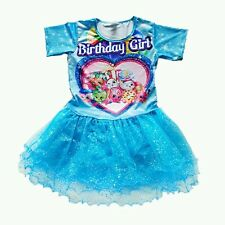 NWT Shopkins Sparkly Blue Tutu Birthday Girls print Party Dress clothes Size 10